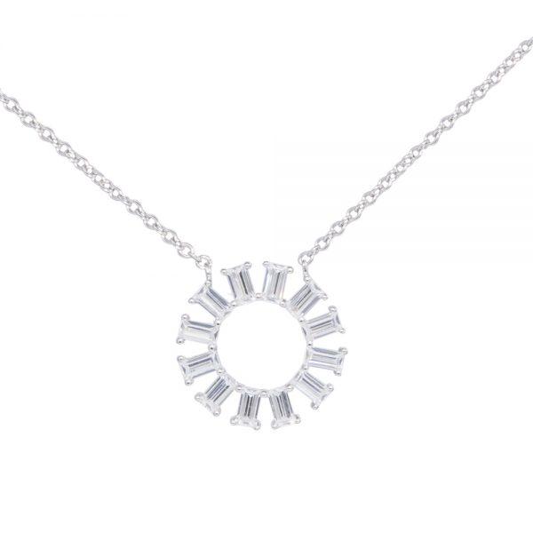 Silver Baugette Cut Cubic zirconia Pendant Necklace