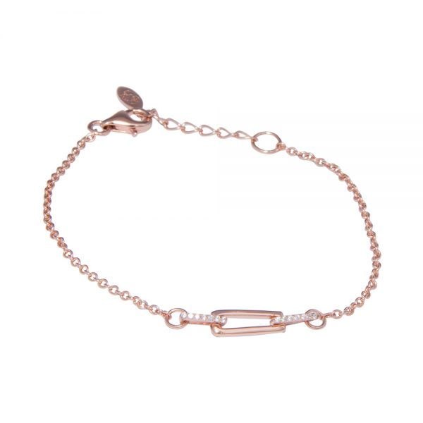 Rose Gold Plated Silver Cubic Zirconia Inlaid Bracelet