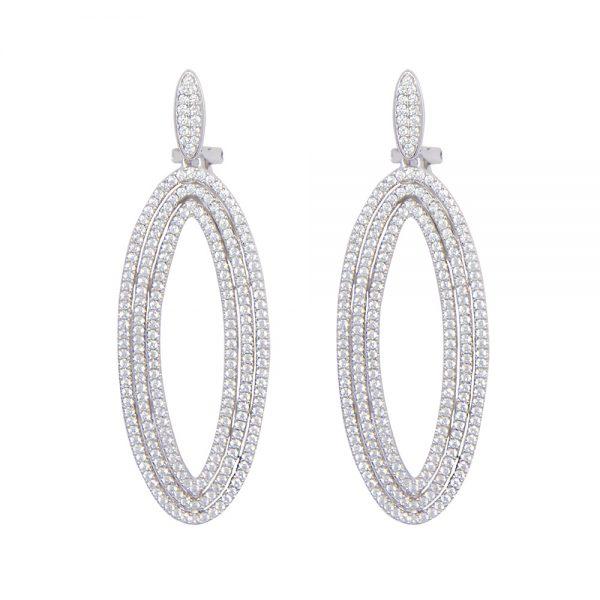 Oval Silver Drop Earrings