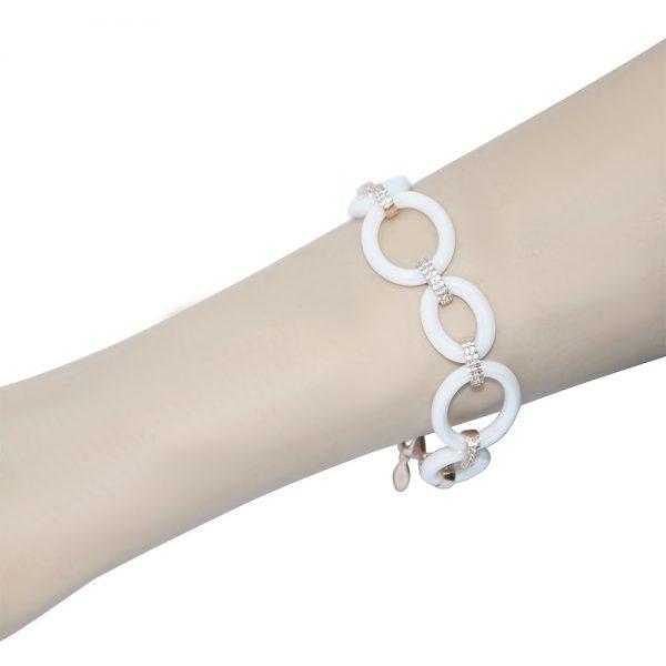 Rose Gold Plated  White Ceramic Bracelets
