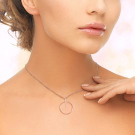 Rose Gold plated Silver Circle Necklace