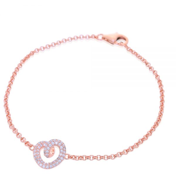 Rose Gold Plated Silver Cubic Zirconia Heart Bracelet
