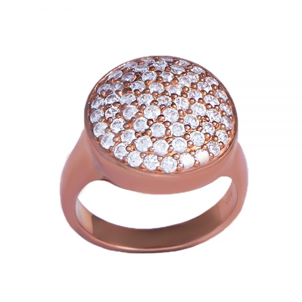 Cubic Zirconia Ring with Rose Gold Finish