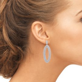 Oval Silver Drop Earrings
