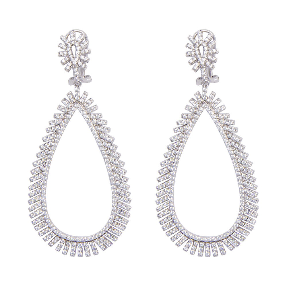 silver statement earrings with cubic zirconia gargash