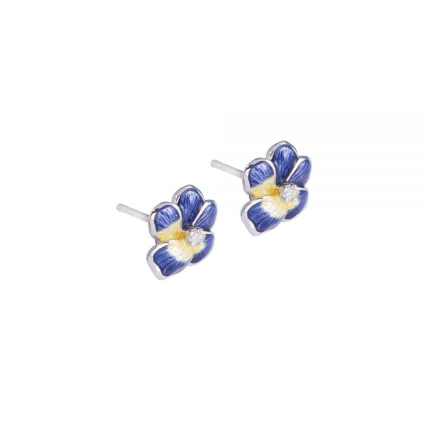 Blue Pansy Earrings