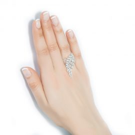 Adjustable wing silver ring