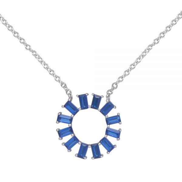 Sapphire Blue Cubic Zirconia Silver Pendant Necklace