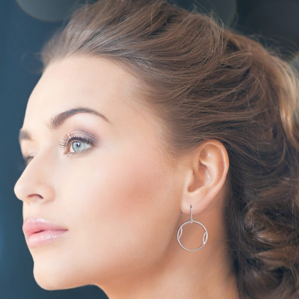 Silver Circle Earrings with Cubic Zirconia