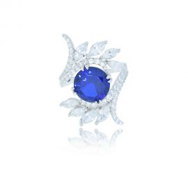 Classic style silver ring with a large sapphire blue round cut cubic zirconia