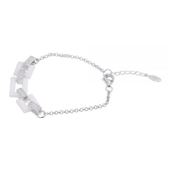 Silver White Ceramic Chain Bracelet