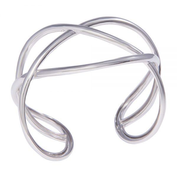 High polish Contemporary silver bangle