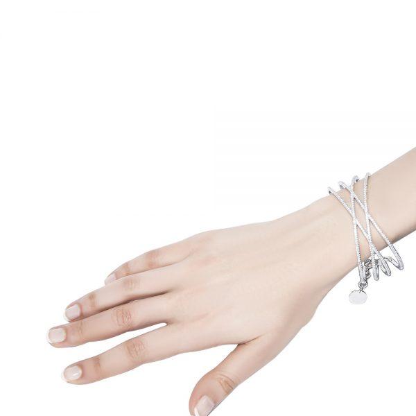 Crossover silver cuff