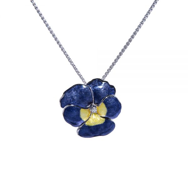 Blue and Yellow Pansy Pendant