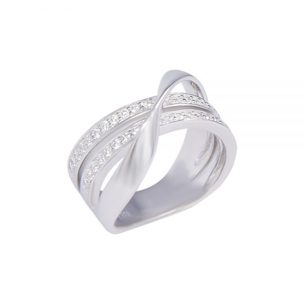 Crossover silver ring