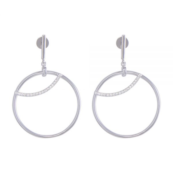 Silver Earring Circle with Cubic Zirconia inlay