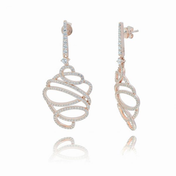 Rose Gold Plated Silver Cubic Zirconia Contemporary drop earring