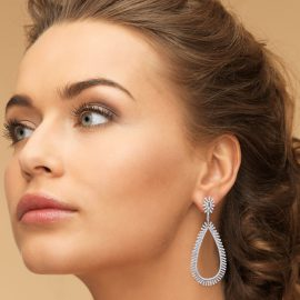 Silver statement Earrings with cubic zirconia