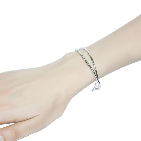 Adjustable Twisted Silver Bangle