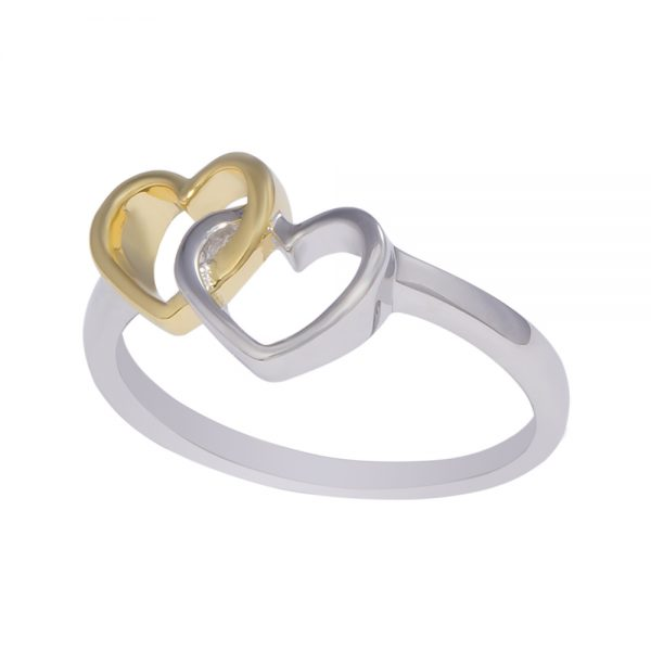 Yellow Gold Plated Intertwined Heart Ring