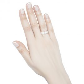 White Ceramic Ring With Rose Gold Cubic Zirconia