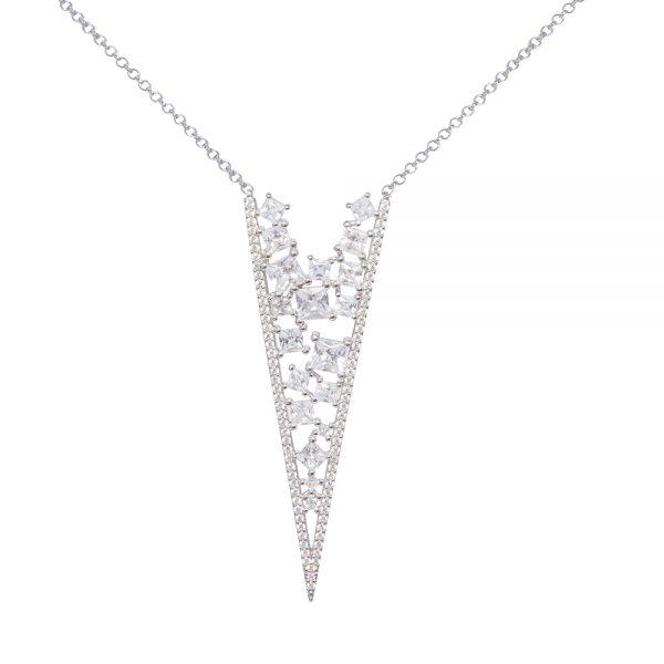 Cubic Zirconia Silver Pendant Necklace