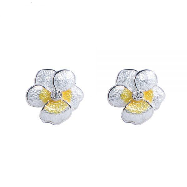 White Pansy Earrings