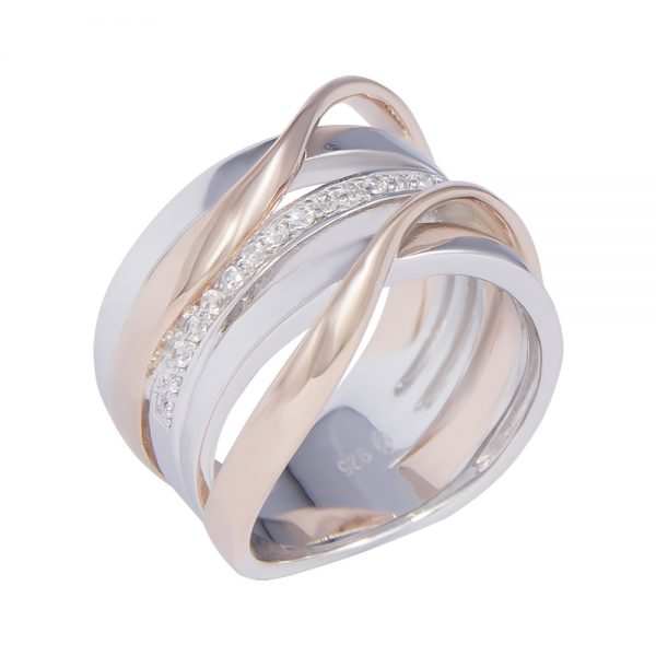 Silver and Rose Gold Plated Ring
