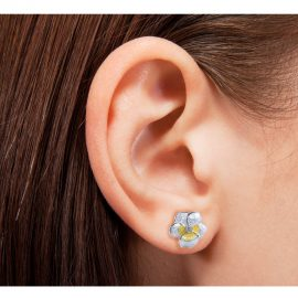 White Pansy Earrings