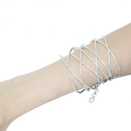 Adjustable Cubic Zirconia Silver Bangle