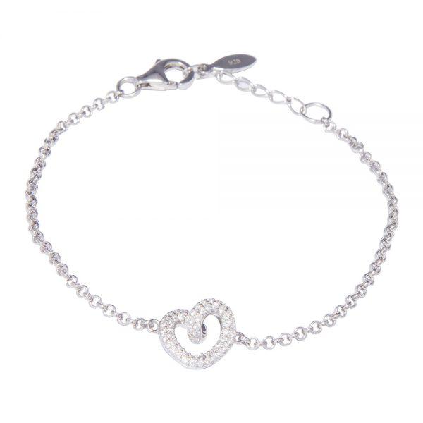 Silver Cubic Zirconia Twisted Heart Bracelet