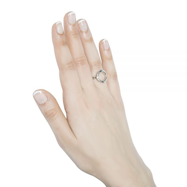 Cubic Zirconia Polished Silver Ring