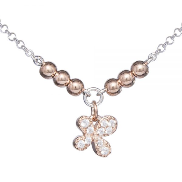 Delicate Rose Gold Plated Silver Cubic Zirconia Clover Bracelet