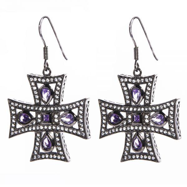 Amethyst Cross Earrings