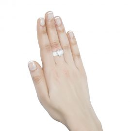 White Ceramic Ring With Cubic Zirconia