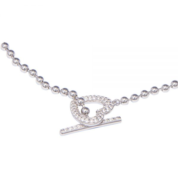 Silver Cubic Zirconia Heart Toggle Bracelet