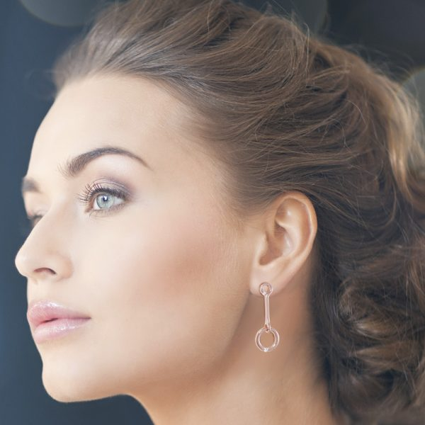 Rose Gold Plated Silver Earrings with Cubic Zirconia