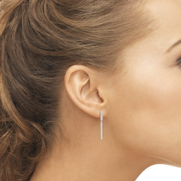 Contemporary Silver Earrings with cubic zirconia